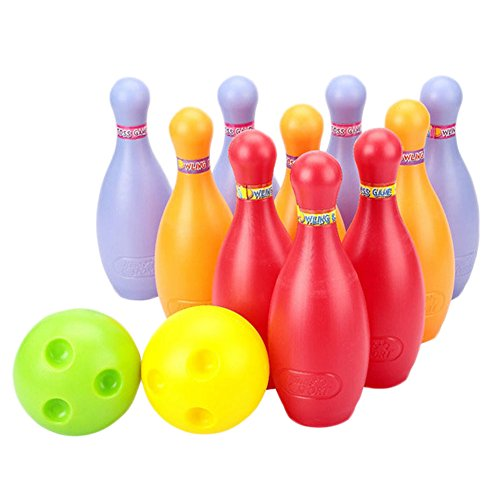 Big Plastic Bowling Ball Set, 2 Balls And 10 Pins, Colorful by Kylin Express