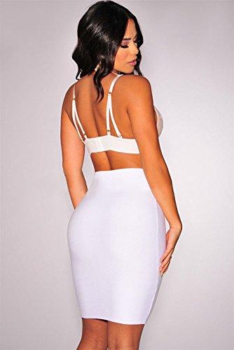 New Damen Weiß & Nude Eyelash Spitze Bralette abgeschnittenes Top tragen Sommer Casual Tops Größe M UK 10–12