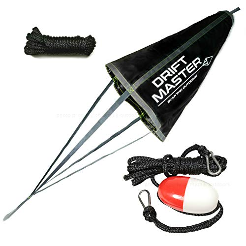 Mythik Lures & Outdoors - Complete Drift Sock KIT: Drift and Trolling Sock Bag (33-inch) + Floating Anchor Harness + Free Collapsing Cord - for Your Boat, Kayak or Canoe. Use On Lake River or Ocean (Best Drift Boat For The Money)
