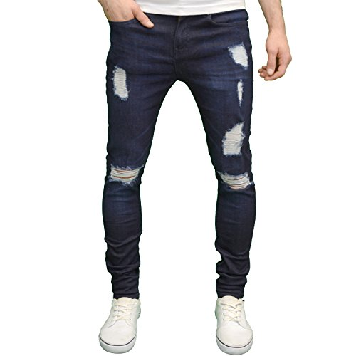 Enzo Mens Designer Branded Ripped Stretch Skinny Distressed Jeans (40W x 32L, Dark Stonewash)