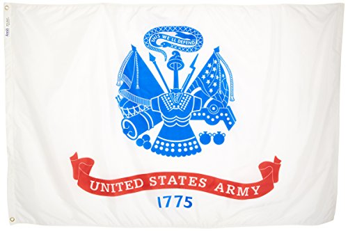 Annin Flagmakers Model 439021 U.S. Army Military Flag 4x6 ft. Nylon SolarGuard Nyl-Glo 100% Made in USA to Official Specifications. Officially Licensed Manufacturer.