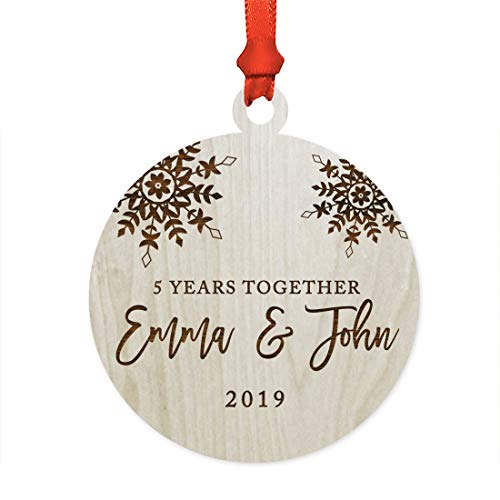 Andaz Press Personalized 5th Wedding Anniversary Laser Engraved Wood Christmas Ornament, 5 Years Together 2019, Snowflakes, 1-Pack, Includes Ribbon and Gift Bag, Custom Name and Year Fifth Anniversary