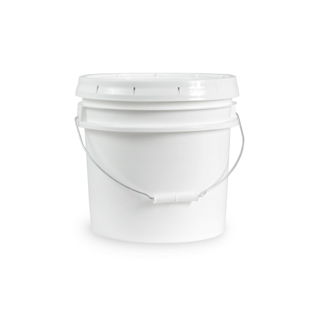 3.5 Gallon Janitorial White Bucket with LId - Durable 90 Mil All Purpose Sanitation Supplies Pail - Multi-Purpose Industrial Buckets (Pack of 12)