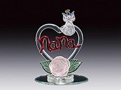 DAR Giftware Blown Glass Nana on Heart with Angel and Flower Figurine Collectible 4.25 Inches Tall