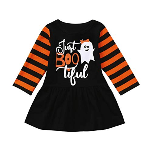 Infant Toddler Baby Girls Halloween Dresses, Ghost Cartoon Cotton Striped Party Dress Cosplay Costumes Clothes (Black, 18-24 Months)