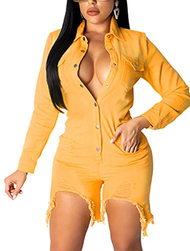 SxClub Women Sexy Jumpsuits Clubwear Casual Short Pants Denim Rompers Button Pockets Loose Comfy Outfits Waistband (XX-Large, Denim Yellow1)