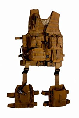Ultimate Arms Gear Tactical Assault Scenario FDE Flat Dark Earth Tan MOLLE 10 Piece Ambidextrous Complete Kit Set Deluxe Modular Web Vest w/ Hydration Bladder Pocket + 2 Open-Top Double Mag Ammo Pouches + Pistol Mags + Cell Phone Radio Pouch + Adjustable