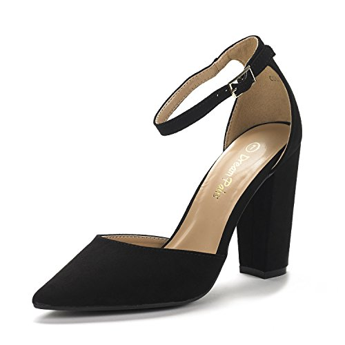 Dream Pairs Women's Coco Black Suede Mid Heel Pump Shoes - 9.5 M (4 Inch Ankle Strap Pump)