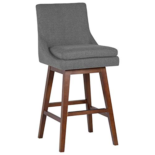 Stone Beam Alaina Modern Kitchen Dining Swivel Counter Height Bar Stool with Back, 38.5 H, Gray