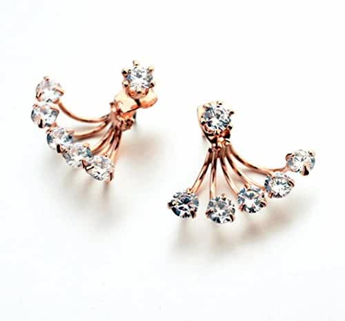 megko Fashion Lady Clear Crystal Cubic Zirconia Ear Jacket Earrings Back Ear Cuffs Stud Earring