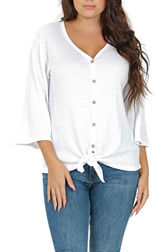 3/4 Sleeve Ribbed Henley - iliad USA P1033 Womens 3/4 Sleeve Waffle Knit Tie Knot Loose Fit Blouse Henley Top White Medium