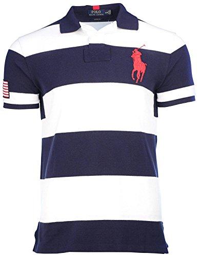 Big Pony Rugby Shirt (Polo Ralph Lauren Men's Custom Fit Mesh Big Pony Shirt-Navy/White-Small)