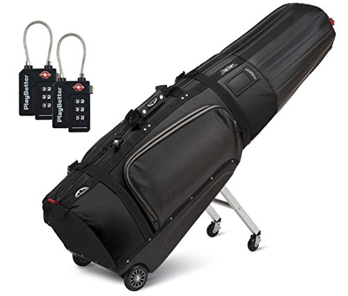 Sun Mountain ClubGlider Tour Series Golf Travel Bag (2016/2017 VERSION) Bundle with Two (2) PlayBetter TSA Locks (Black)