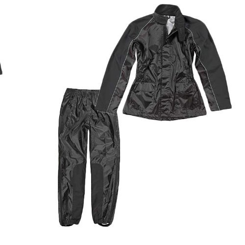 Joe Rocket RS-2 Women's 2 Piece Motorcycle Rainsuit Black/Black (Medium)