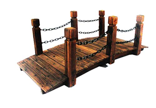 PierSurplus Rustic Wood Garden Bridge with Posts and Double Metal Chain Hand Rails Product SKU: PL54205 by PierSurplus (Image #3)