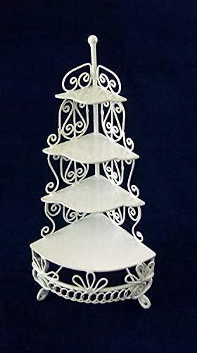 Dolls House White Wire Wrought Iron Pyramid Corner Shelf Miniature Furniture
