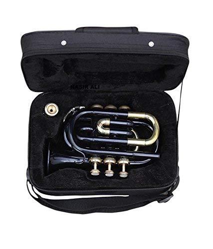 OSWAL Bb Flat Black Brass Finishing Pocket Trumpet W/Free Case+Mouthpiece by OSWAL