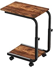 """Side Table, Mobile End Table Couch Table with Metal Frame Coffee Table, Height Adjustable Sofa Table, Snack Table Industrial C Table for Coffee Snack Sofa, 18"""" L x 12"""" W x (20""""-26"""") H"""