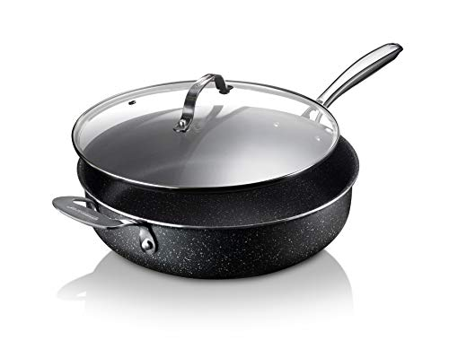 Granitestone Nonstick Sauté Pan with Lid – 5.5 Quart. Multipurpose Jumbo Cooker Fry Pan with Glass Lid, Stay Cool Handle…