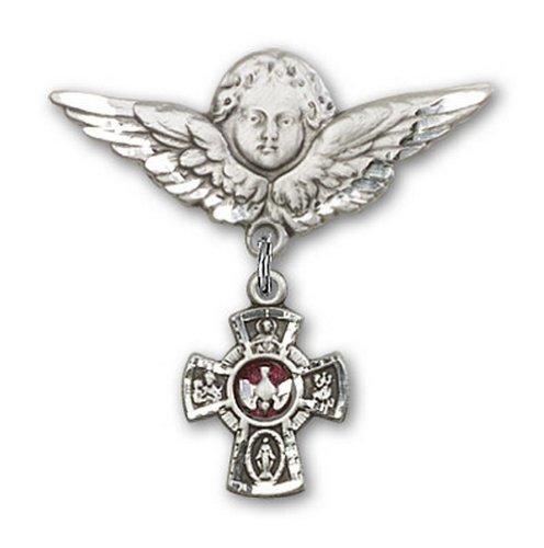 Icecarats Créatrice De Bijoux En Argent Sterling Pin Rouge Cinq Sens Insigne Charme D'Ange 1 1/8 X 1 1/8