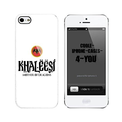 Iphone 5 / 5S Schutzhülle Khaleesi - mother of Dragons - weisser Rahmen