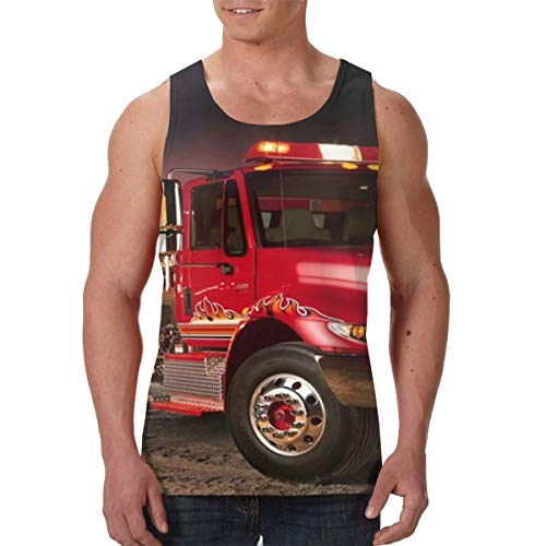(LIN. Sleeveless Undershirt for Youth & Adult Men Boys Workout & Training Activewear Muscle Tank Top Vests Casual Soft Athletic Regular Fit Shirts -Fire Truck Wallpaper)