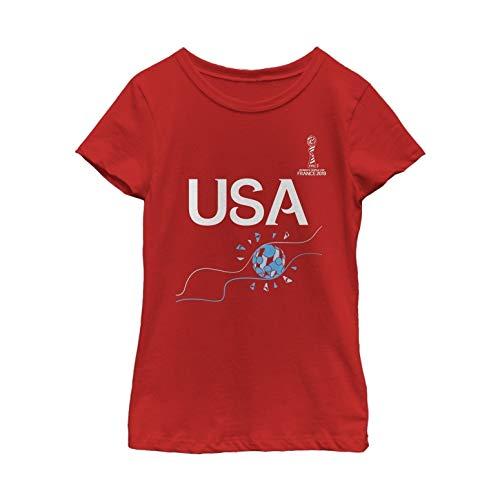 FIFA WWC France 2019 Football Flame Youth Girl's Tee Shirt, Red, Medium]()