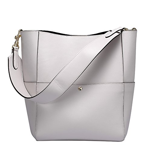 Pockets Dissa Shoulder Q0755 Soft Handbags Bag Women Leather Grey Multiple ZXRZwf