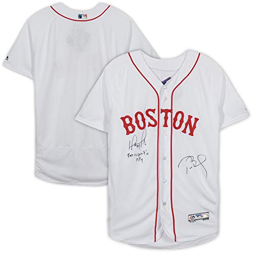 (David Ortiz and Tom Brady Boston Red Sox Autographed White Majestic Authentic Jersey with