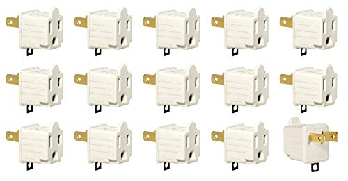 (3-Prong to 2-Prong Adapter Grounding Converter 3 Pin to 2 Pin Power AC Ground Lifter for Wall Outlets Plugs, Electrical, Household, Workshops, Industrial, and Appliances, Color Light Gray. (15 Pack))