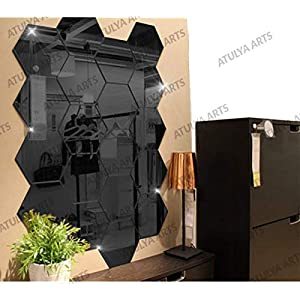 Wall1ders Atulya Arts – 3D Hexagon Acrylic Stickers (Pack of 20), Acrylic Mirror Wall Stickers for Home & Offices(Black)