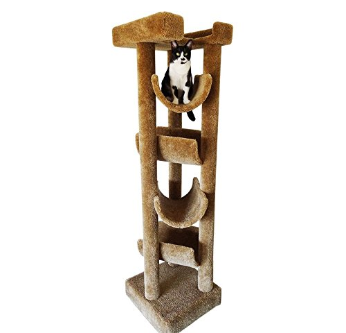 1 Piece Light Brown 72 Inches High Skyscraper Scratcher Cat Condo, Brown Pet Tree Perch Bed Kitty Tower House, Durable Four Cradles Elevated Stable Prevent Tipping Stationary, Carpet Sisal Rope ()
