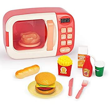Ceepko Microwave Toy, Kitchen Cooking Simulation Role Pretend Play Fake Food, with Lights and Sounds for Kids Toddlers Boys Girls Birthday Christmas Party Gift, Ages 3 and Older