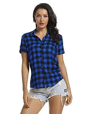 OCHENTA Women's Short Sleeve Button Down Plaid Shirt