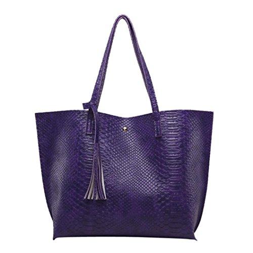 Kolylong® Henkeltaschen Damen Frauen Vintage Quasten Handtasche Elegant PU-Leder Schultertasche Shopper Tasche Groß Ledertasche für Mädchen Umhängetasche Bag Lila