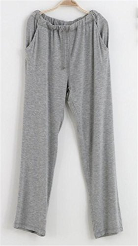 Cromoncent Men Baggy Sport Yoga Waist Drawstring Lounge Straight Pajama Bottom Pants Light Grey M by Cromoncent (Image #1)
