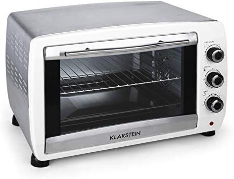 Klarstein Omnichef 45W - Mini horno, Horno eléctrico, 45 L, 4 Bandejas, 2000 W, Hasta 230 °C, 4 Puntos de calor, Gratinador, Temporizador, Vidrio de ...