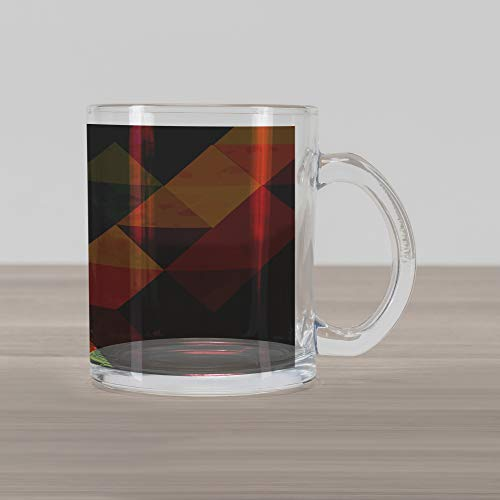 Lunarable Abstract Glass Mug, Geometrical Triangular Polygons with Aged Grungy Look Stained Glass Style Mosaic, Printed Clear Glass Coffee Mug Cup for Beverages Water Tea Drinks, ()