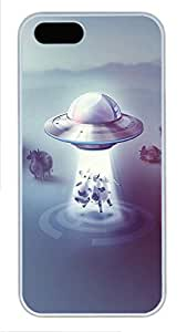 iPhone 5 5S Case Silver Ufo And Dairy Cow PC Custom iPhone 5 5S Case Cover White