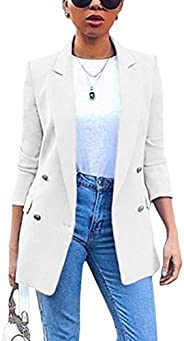 Romose Women's Blazer Long Sleeve Suit Jacket Solid Color Blazer Business Slim Fit Bolero Jacket Suit Tren
