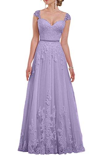 La Linie A Lilac mia Prinzess Breit Traeger Lang Brautkleider Brautmode mit Braut Traumhaft Hochzeitskleider Rock Spitze Elfenbein rrzvqHC