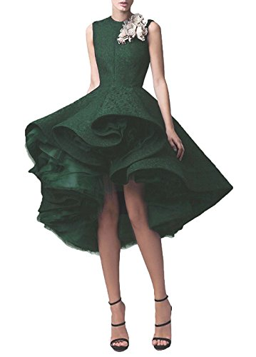 New Quinceanera Gown (Zechun Women's Lace Hi-Low Prom Evening Gown Short Cocktail Dress Green US14)