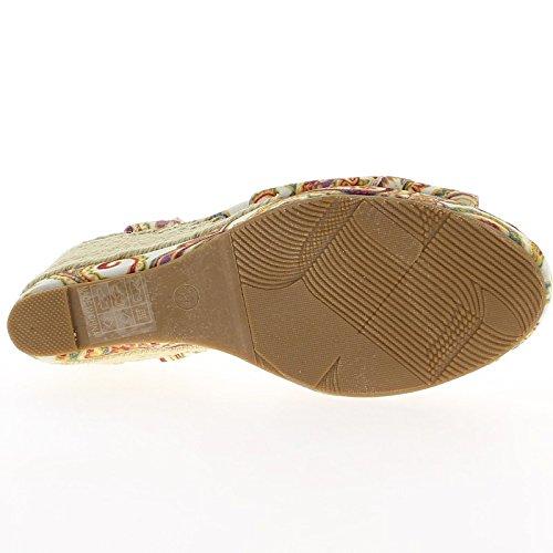 Retro roja cuña sandalias de tacón de 9,5 cm