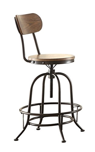 Homelegance Angstrom Rustic Wood and Metal Adjustable Height Dining Chairs Walnut, Set of 2
