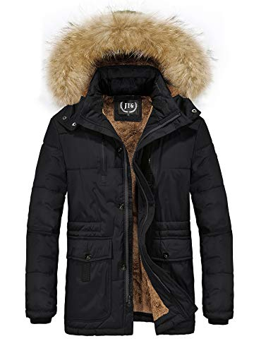 JYG Men's Front-Zip Quilted Puffer Coat with Removable Hood (US XL, Black) ()