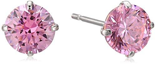 10k White Gold Fancy Pink Swarovski Zirconia Round Cut Stud Earrings