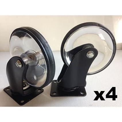 Homebase – Juego de 4 ruedas decorativas con cuerpo de acero y ruedas de cristal transparente