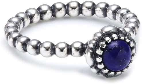 Authentic Pandora Silver Lapis Lazuli Birthday Blooms Ring Size 58 (8) 190854LP