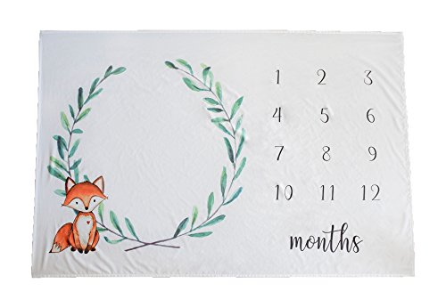 Baby Monthly Milestone Blanket - Photography Prop Backdrop for Newborn, New Mom Baby Shower Gift, Large 40 x 60 Size - by Coral + Cotton (Fox, 40 x 60) by Coral + Cotton