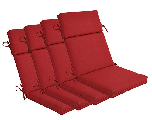 (Bossima Indoor/Outdoor Rust Red High Back Chair Cushion, Set of 4,Spring/Summer Seasonal Replacement Cushions.)